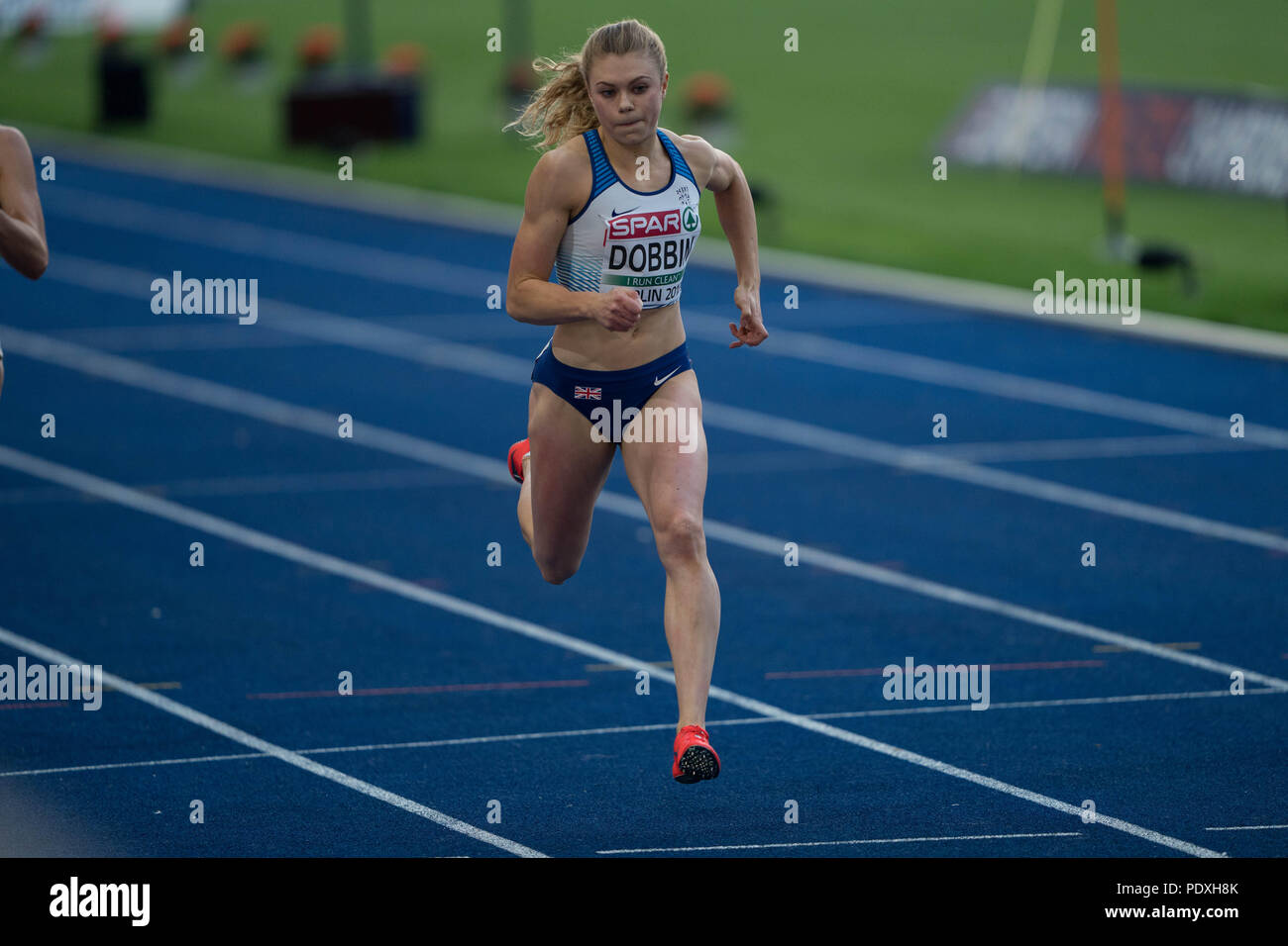 Berlin, Germany, 10 Aug 2018. Beth DOBBIN (Great Britain) competes during the Women's 200m at the European Athletics Championships in Berlin, Germany. Dobbin progressed as a qualifier to the final.Credit: Ben Booth Photography Credit: Ben Booth/Alamy Live News - Stock Image