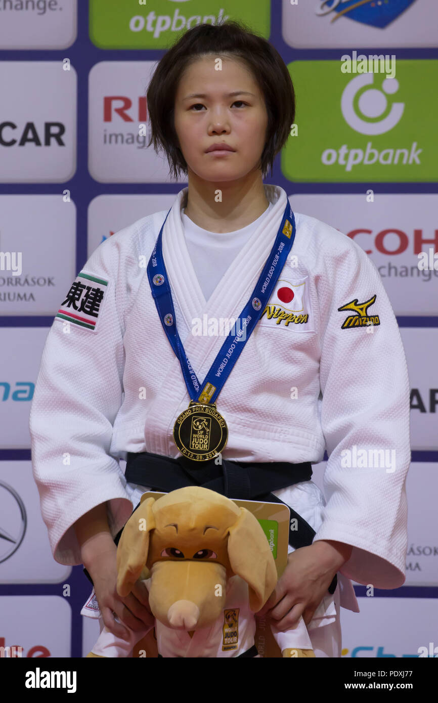 Budapest. 10th Aug, 2018. Gold medalist Hiromi Endo of Japan attends the awarding ceremony of the women's 48kg category at the Judo Grand Prix Budapest 2018 in Budapest, Hungary on Aug. 10, 2018. Credit: Attila Volgyi/Xinhua/Alamy Live News - Stock Image