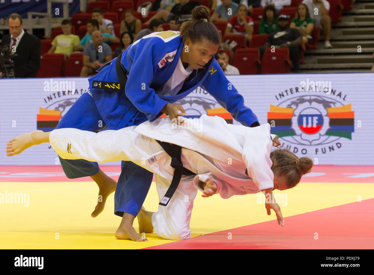 Budapest  10th Aug, 2018  Rafaela Silva (top) of Brazil