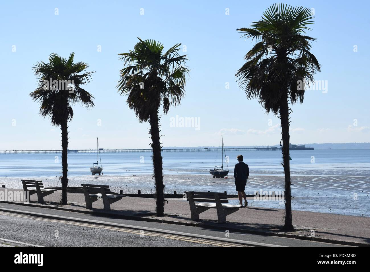 Southend On Sea Es Uk 11th August 2018 Uk Weather A Warm Start To The Day In Southend A View Of A Man Walking Along The Sea Front Credit Ben