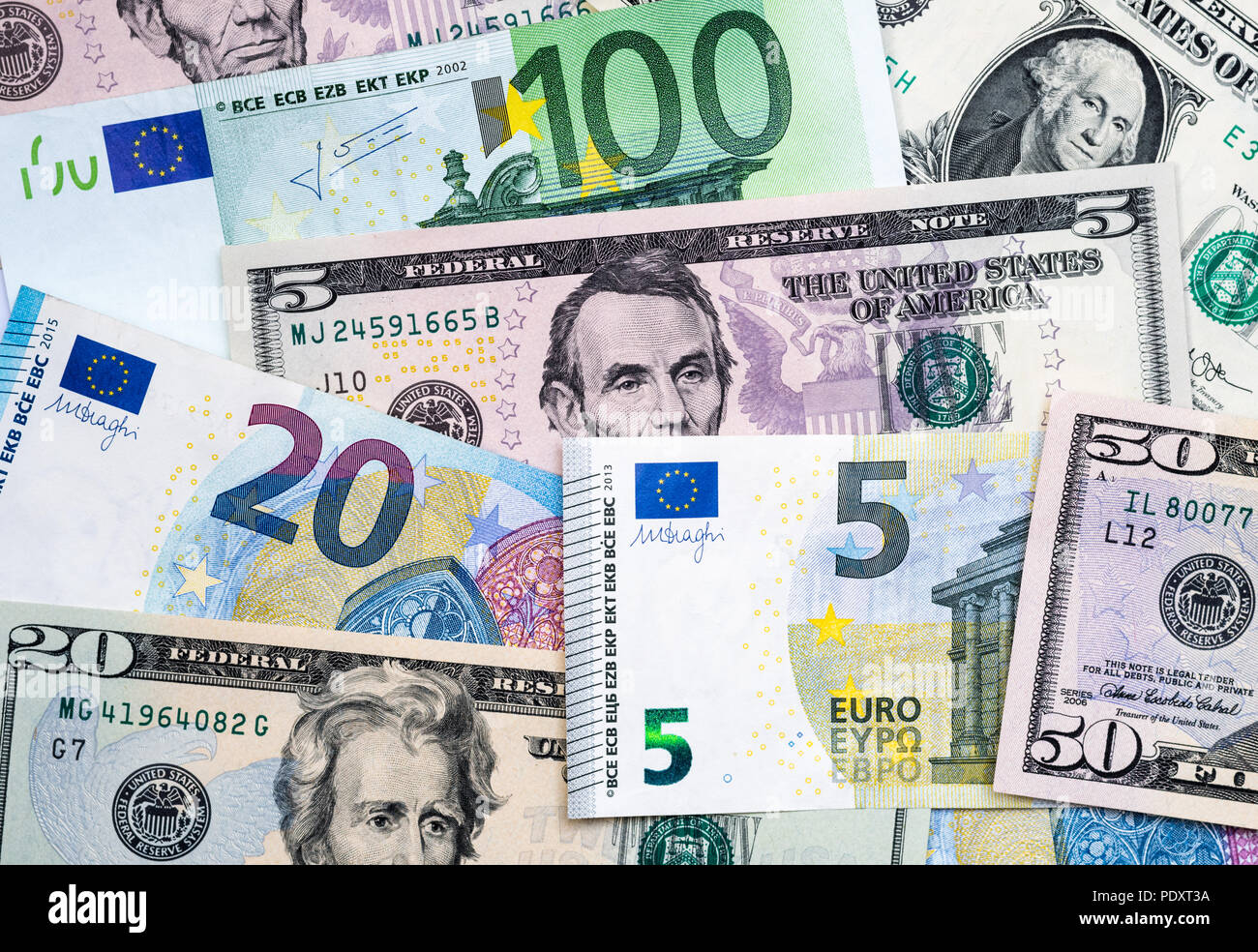 Euro And Us Dollar Banknotes Mixed Euro Dollar Exchange Rate