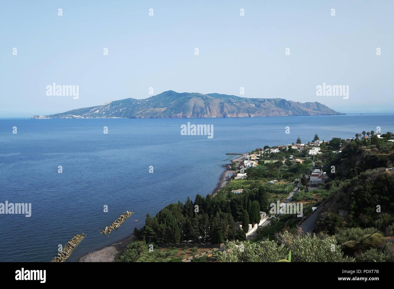 Lingua, view from above, Salina, Aeolian islands,Sicily, Italy - Stock Image