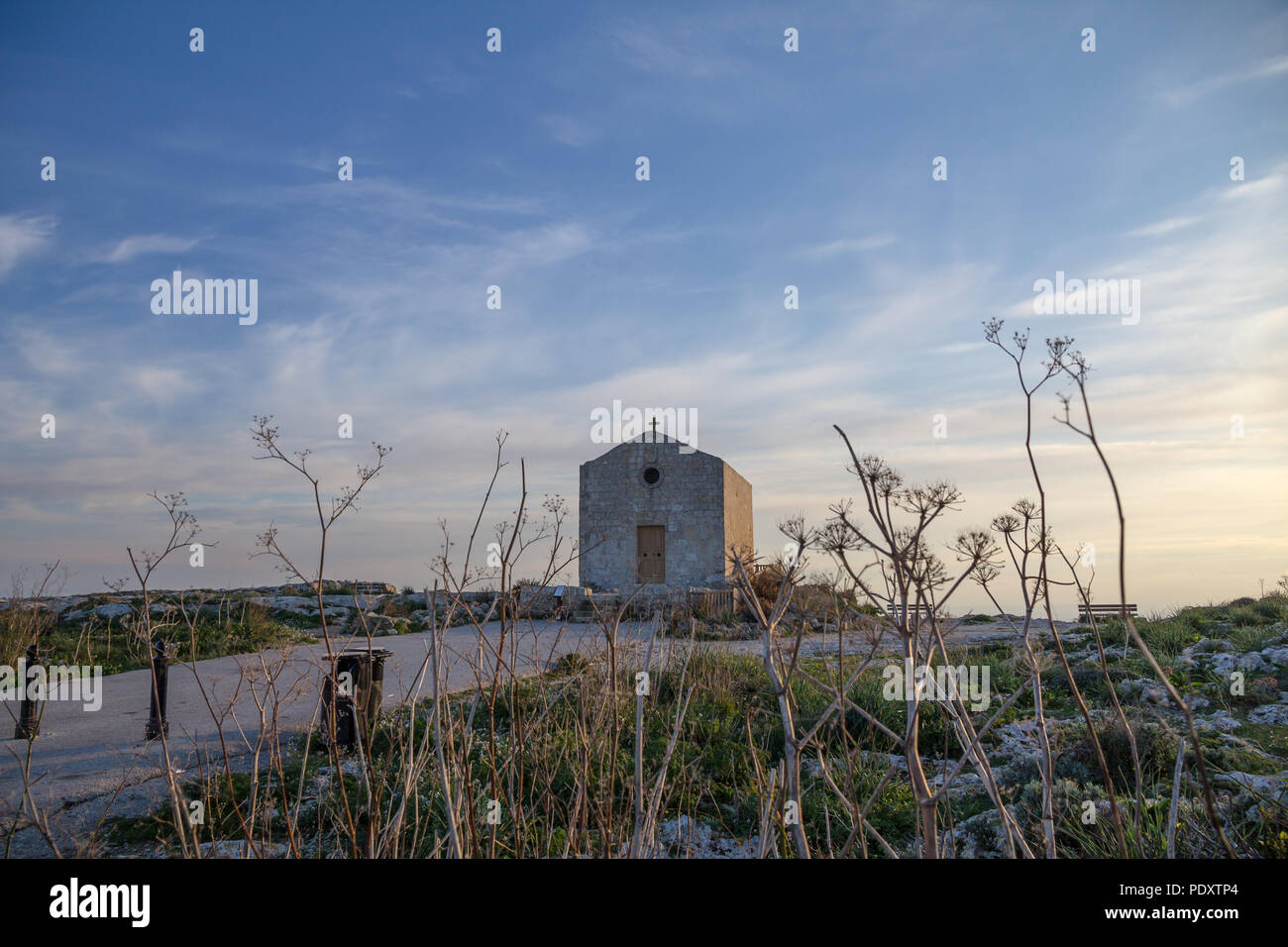 Taken from low perspective through delicate, dried-out flower stems, Malta's simple St. Mary Magdelene Chapel is illuminated by golden hour glow. - Stock Image