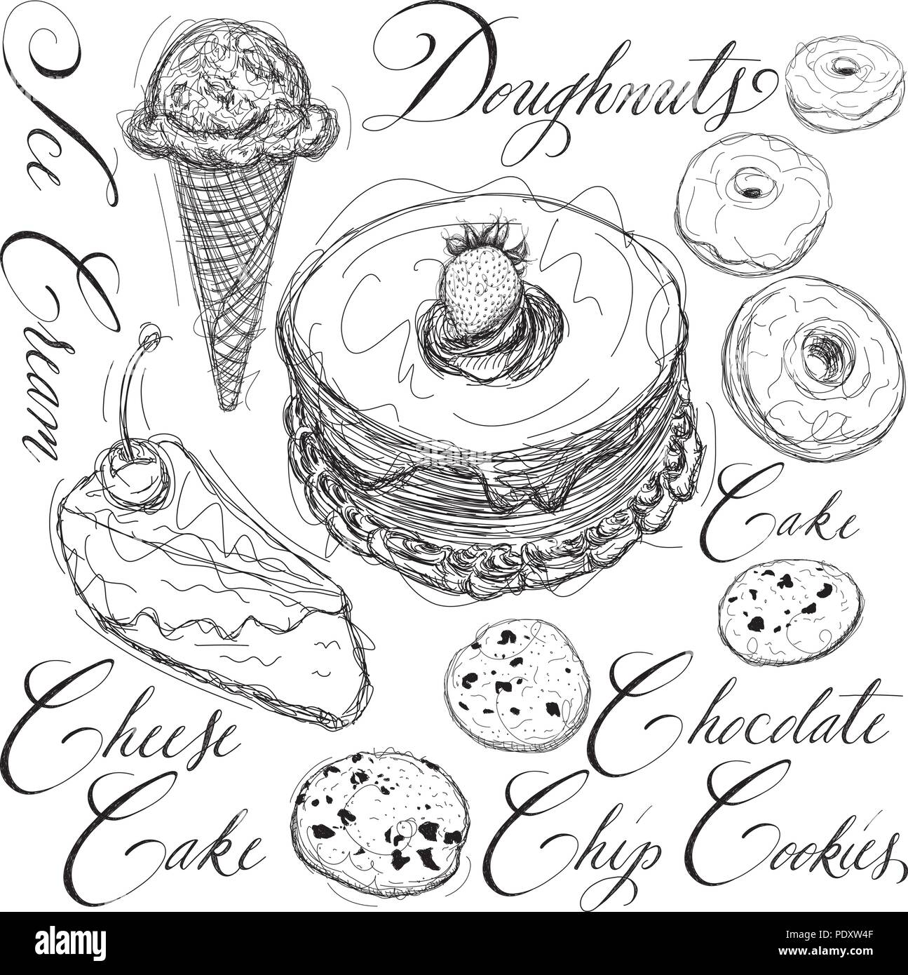 Dessert sketches with calligraphy - Stock Vector