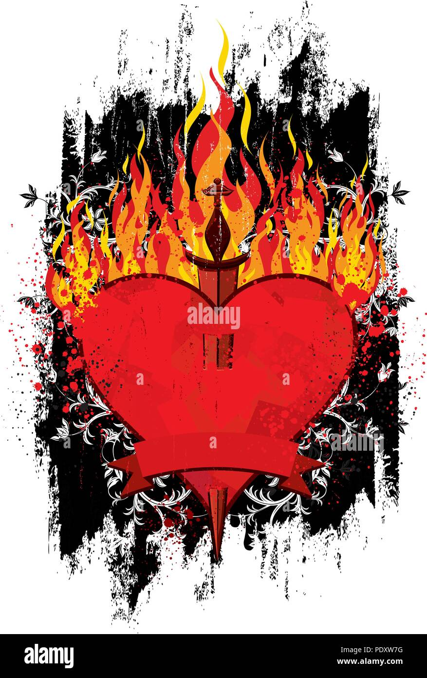 Burning Heart Dagger. A burning heart with a dagger through it over a textured background. - Stock Vector