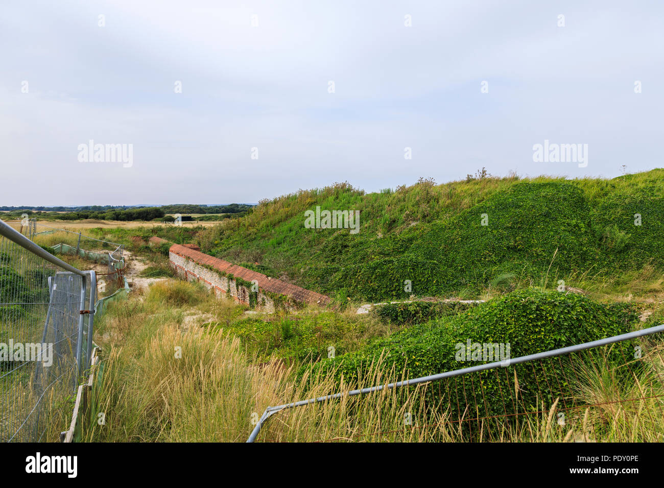 Walls of Littlehampton Napoleonic Fort ruins, the first Palmerston Fort, West Littlehampton, a small holiday resort on the south coast in West Sussex - Stock Image