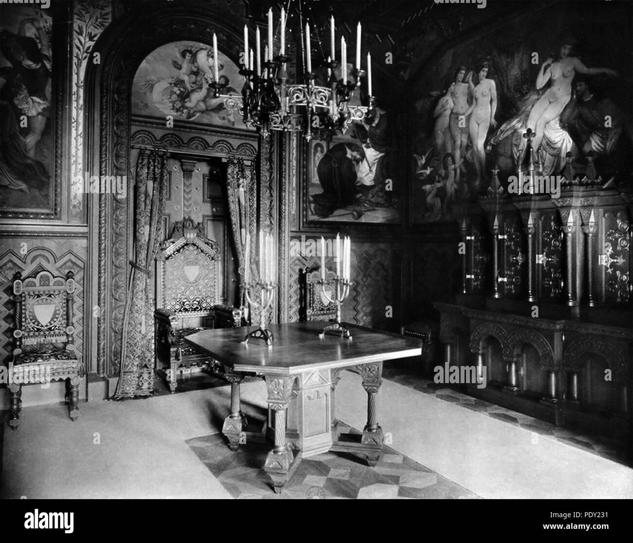 Arbeitszimmer, Schloss Neuschwanstein. Stock Photo