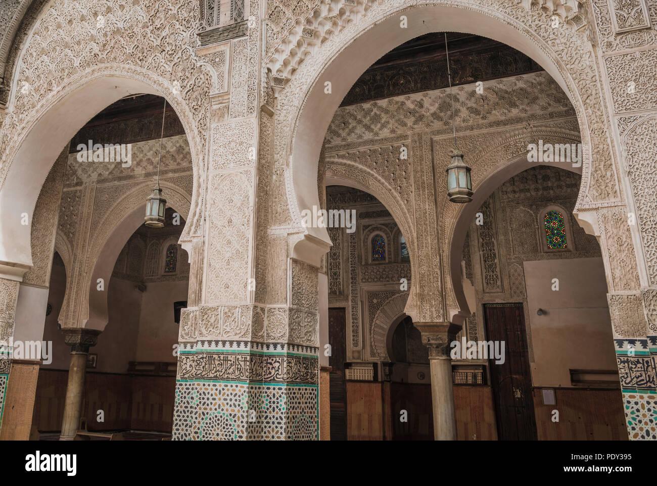 Madrasa Bou Inania, madrasas, Arabic ornaments, Fes, Morocco - Stock Image