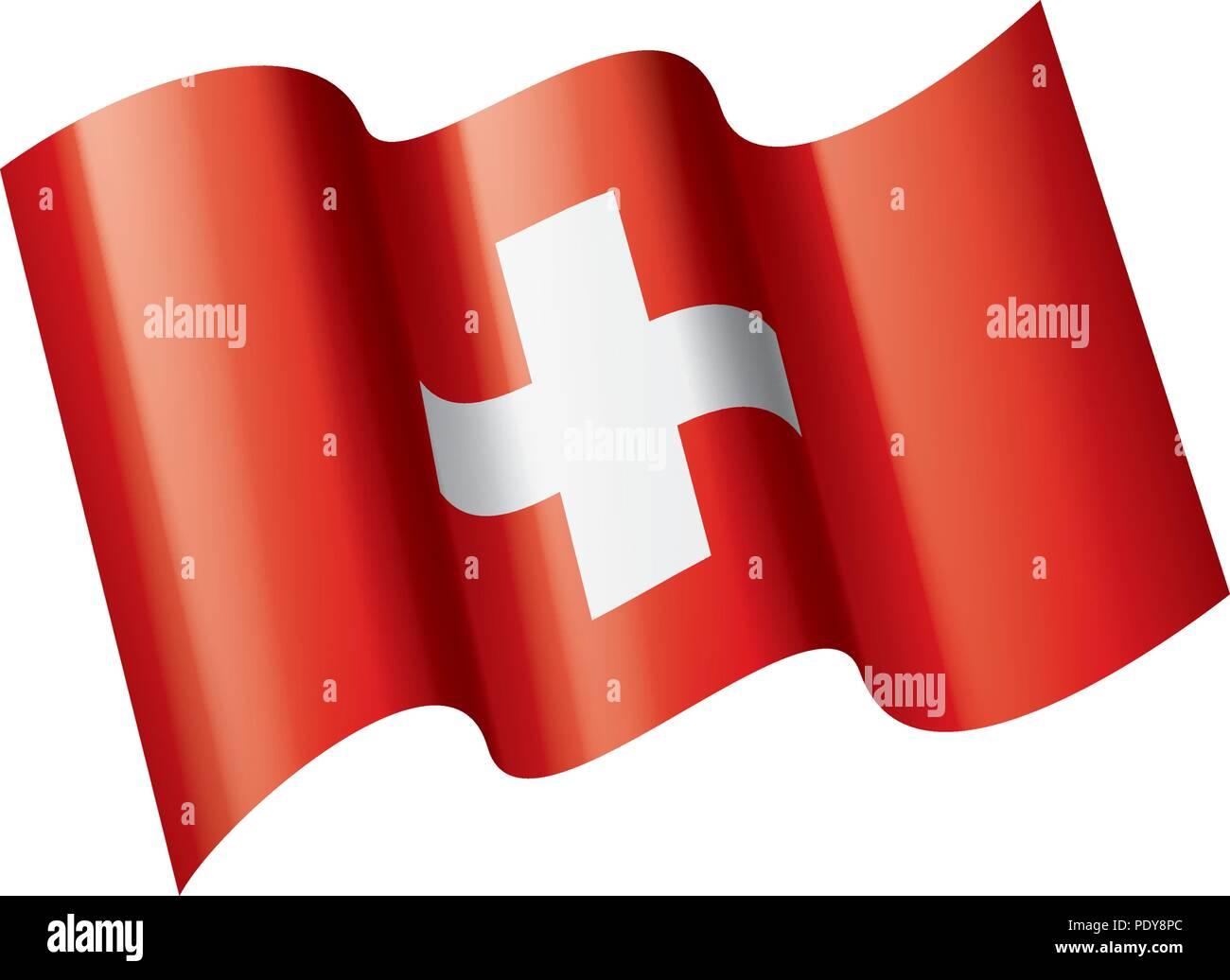 Switzerland flag, vector illustration on a white background - Stock Image