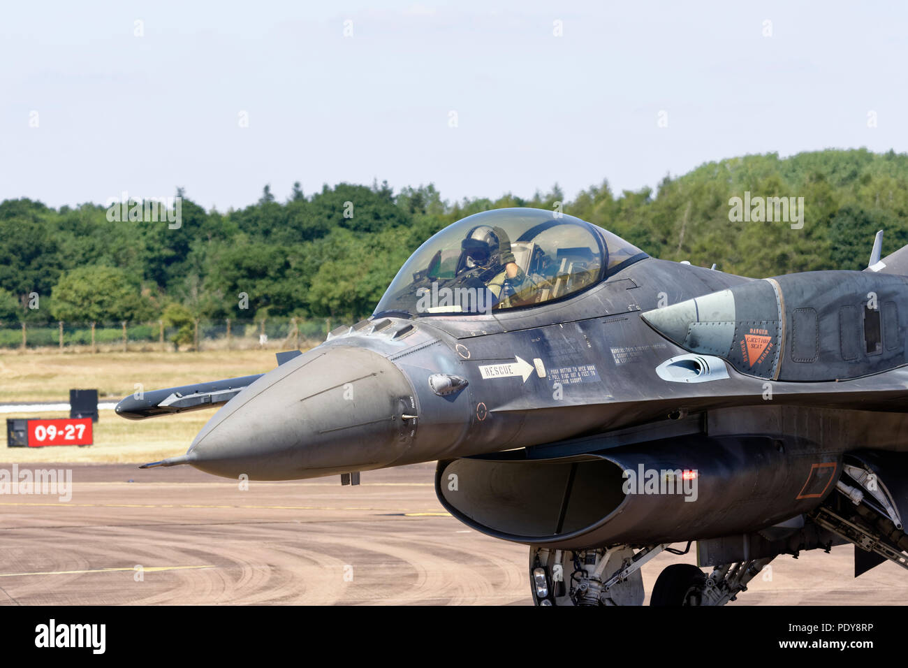A Block 52 Lockheed Martin F16 Fighter jet from the Hellenic Air Force arrives at RAF Fairford in the United Kingdom for the RIAT - Stock Image