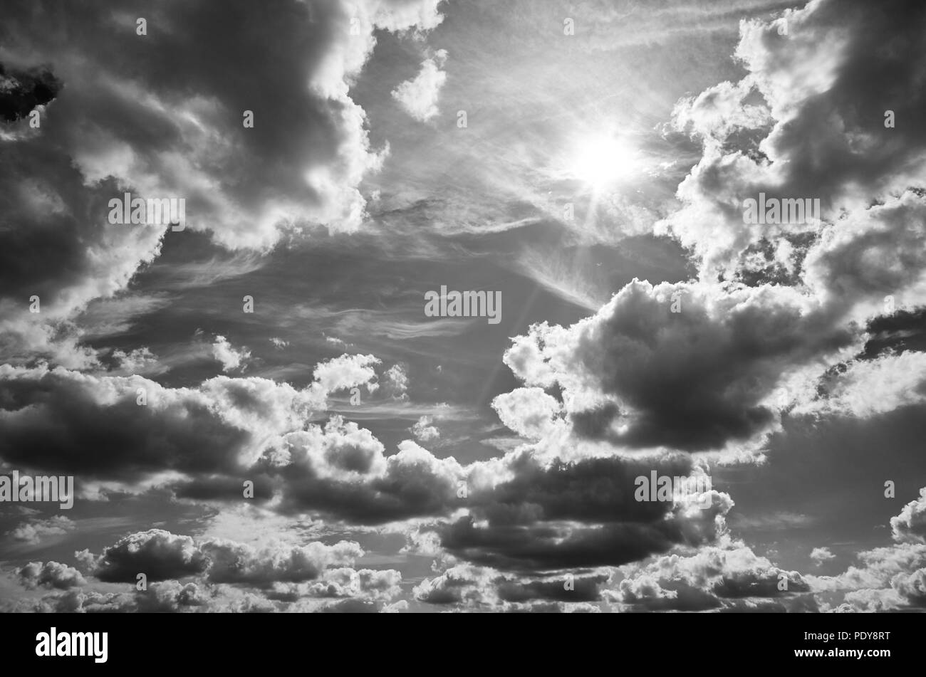 Black and white picture of a beautiful cloudscape. - Stock Image