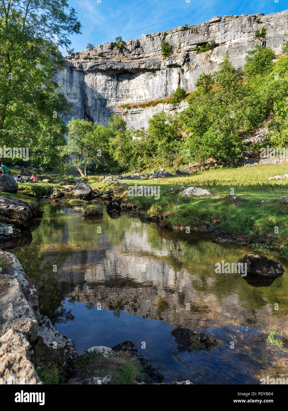 Malham Cove reflected in Malham Beck on a summer evening near Malham Yorkshire Dales England - Stock Image