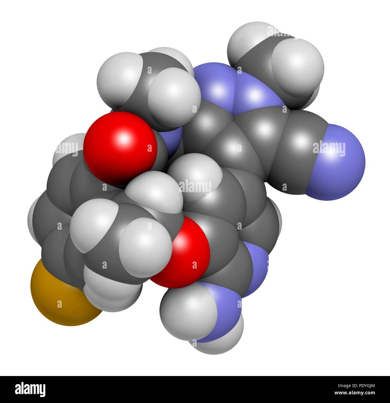 Lorlatinib cancer drug molecule. 3D rendering. Atoms are represented as spheres with conventional colour-coding: hydrogen (white), carbon (grey), nitrogen (blue), oxygen (red), fluorine (gold). - Stock Image