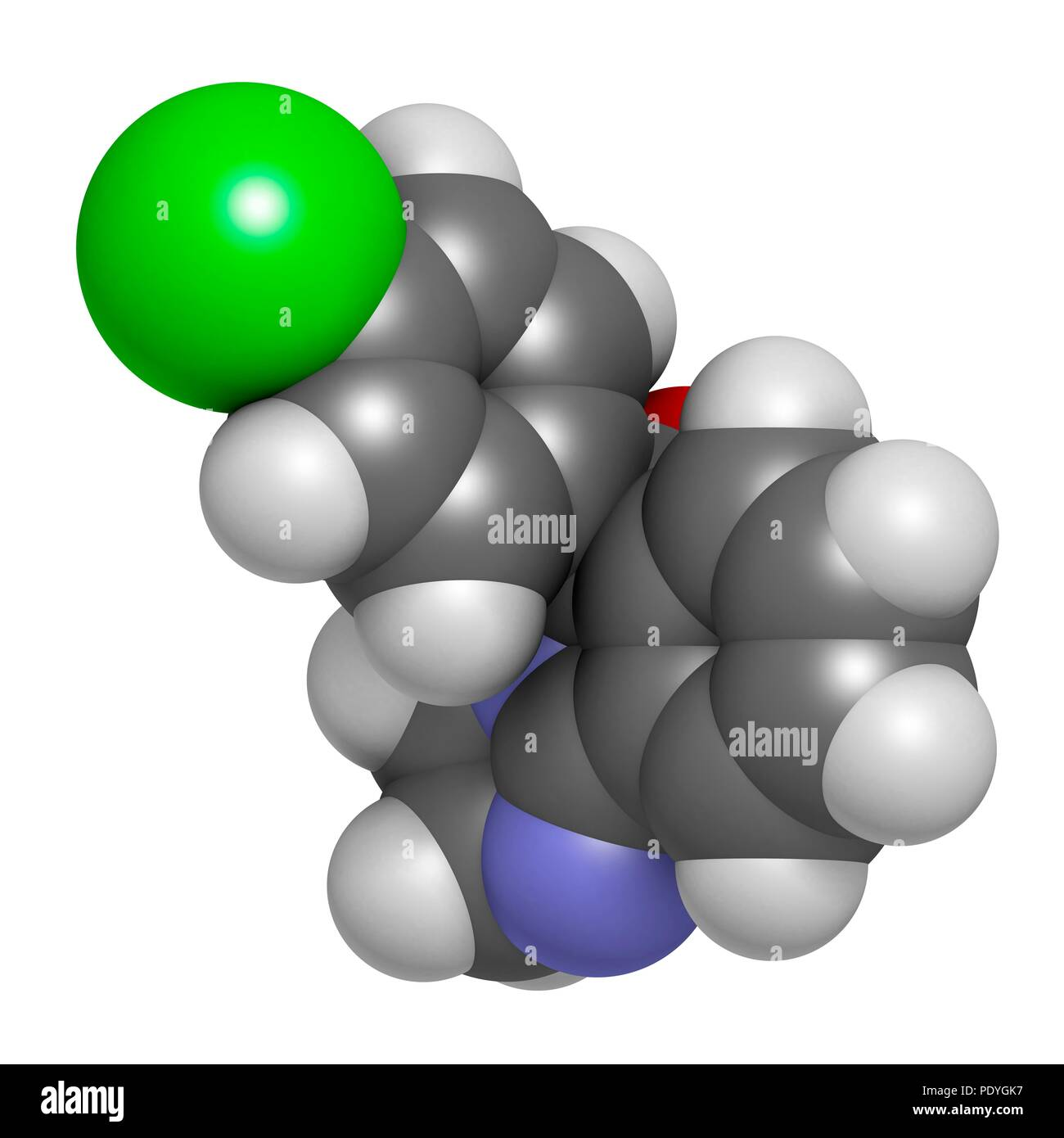 Mazindol appetite suppressant drug molecule. 3D rendering. Atoms are represented as spheres with conventional colour-coding: hydrogen (white), carbon (grey), nitrogen (blue), oxygen (red), chlorine (green). - Stock Image