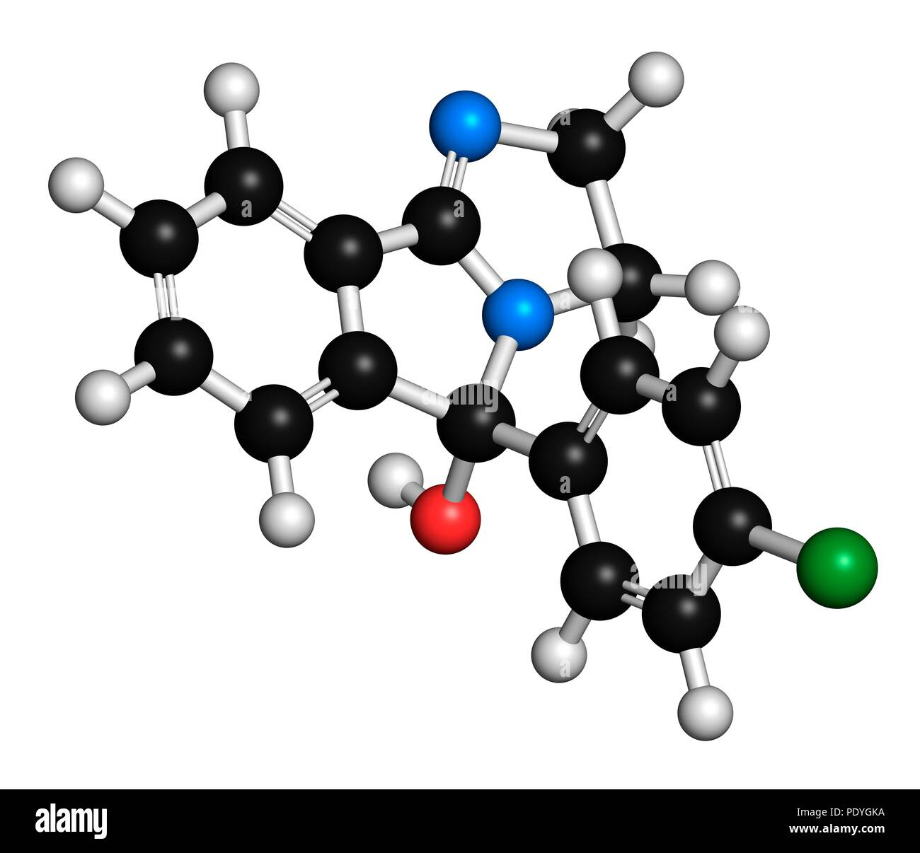 Mazindol appetite suppressant drug molecule. 3D rendering. Atoms are represented as spheres with conventional colour-coding: hydrogen (white), carbon (black), nitrogen (blue), oxygen (red), chlorine (green). - Stock Image