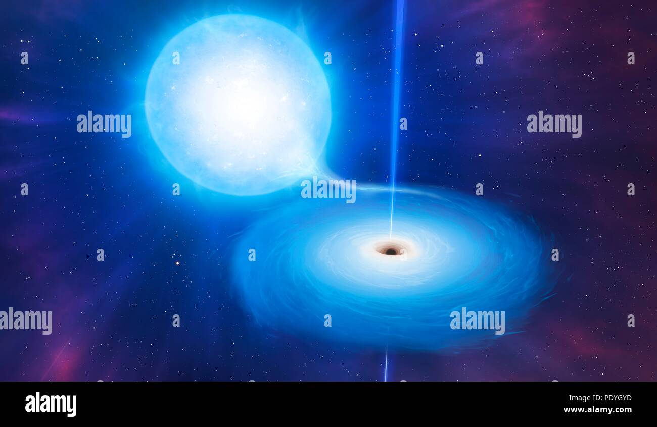 Artist's impression of an X-ray binary. These binary star systems comprise a compact star (neutron star or, as here, a black hole) which is in orbit about a larger companion (in this case, a blue giant). The compact star distorts the companion and pulls gas from its atmosphere. The gas swirls around the compact object forming an accretion disc. Particle jets are sometimes emitted from the centre of this disc, making the systems superficially similar to the much larger and totally different quasars. - Stock Image