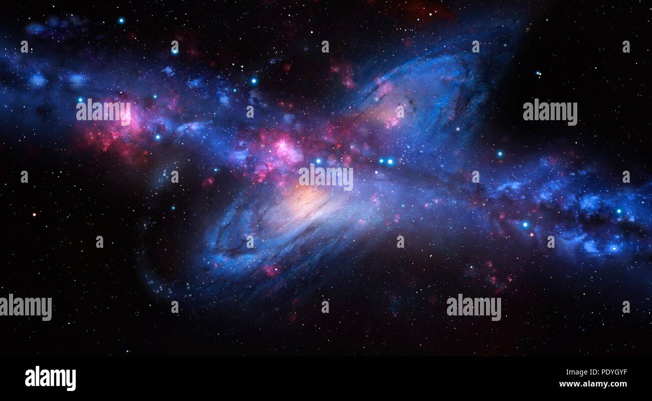 An artist's impression of the Milky Way galaxy colliding with Andromeda. Our galaxy, the Milky Way, is moving towards the Andromeda galaxy. Astronomers predict that in about 4 billion years, the two galaxies will collide and begin to merge. The Solar System's fate is uncertain. It might end up in the final, larger galaxy, orbiting further from the core than it does now, or it might be ejected into space altogether. Stock Photo