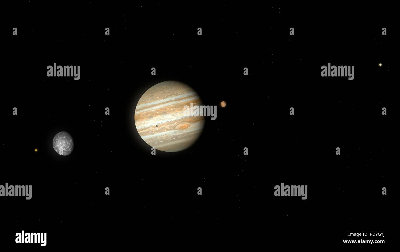 Artwork of Jupiter and its largest four (Galilean) moons. From left to right the bodies are Io, Callisto, Jupiter (with the shadow of Io cast upon it), Ganymede and Europa. The bodies are all shown to the correct scale, as viewed from a distance somewhere beyond the orbit of Callisto - Stock Image