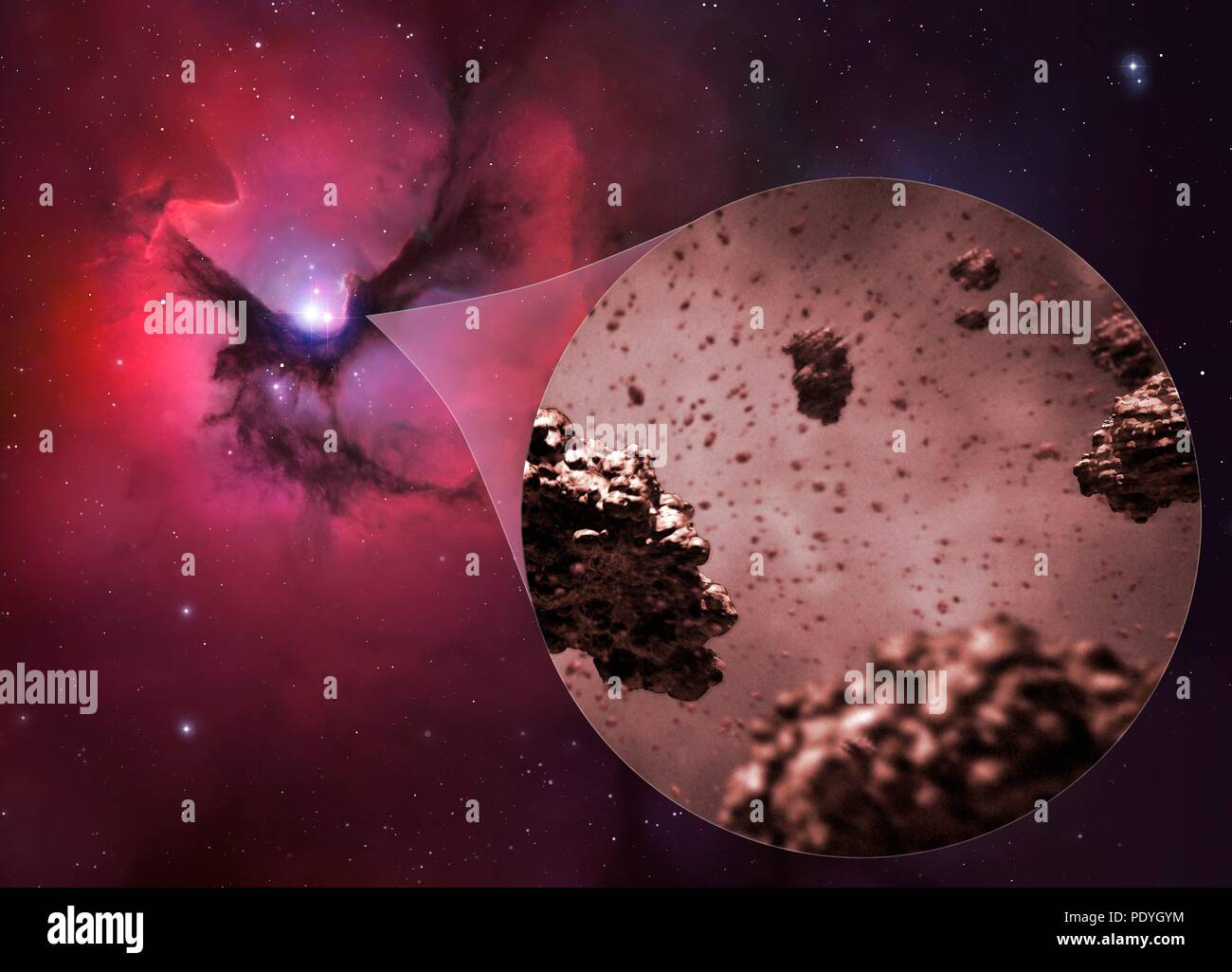 Illustration of the grains found within interstellar dust and giant molecular clouds. Called cosmic dust or space dust, these particles are up to 0.1 micrometres across, but can be as small as just a few molecules. The grains are made of dust grains and aggregates of dust grains. - Stock Image