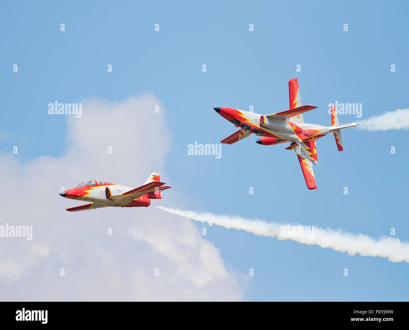 RAF RIAT 2018, the Spanish Air Force Patrulla Aguila displaying at the air show Fairford,Gloucestershire,U.K. - Stock Image