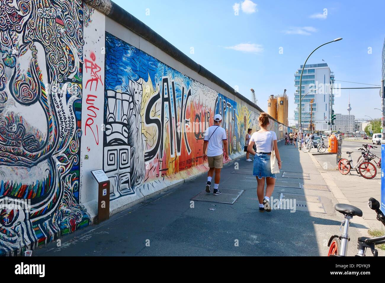 East Side Gallery Friedrichshain Berlin Painted And Graffitied Remains Of The Berlin Wall In Germany Hot Summer Afternoon In August 2018 Stock Photo Alamy