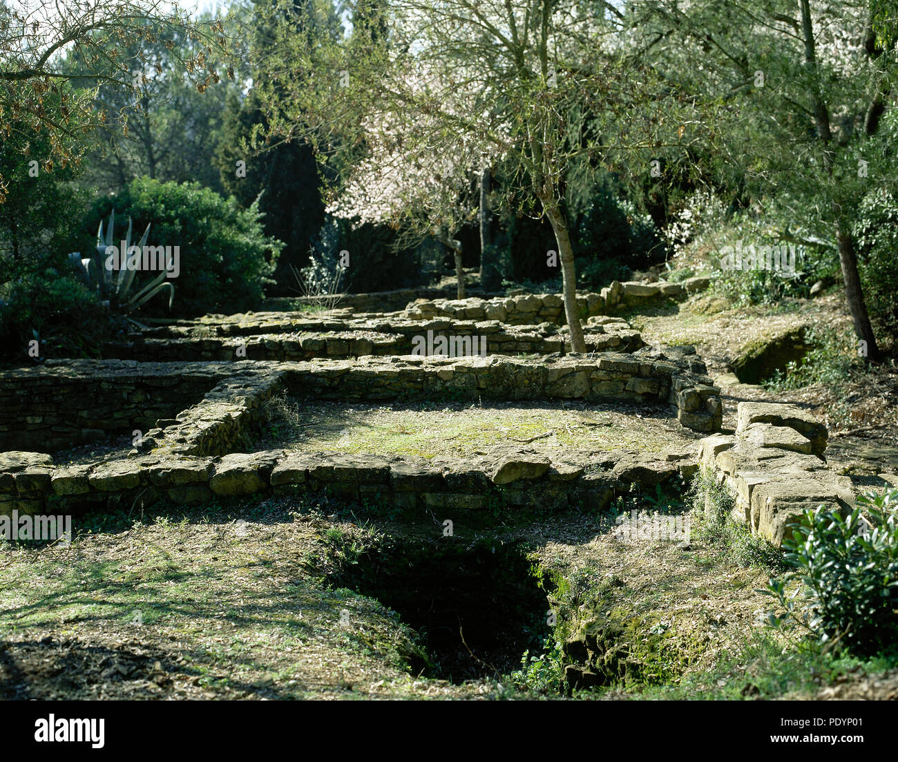 Iberian settlement of El Puig de Sant Andreu. 6th century-2nd century BC. Acropolis. Ruins of a temple, 4th century BC. Ullastret, Girona province, Catalonia, Spain. - Stock Image