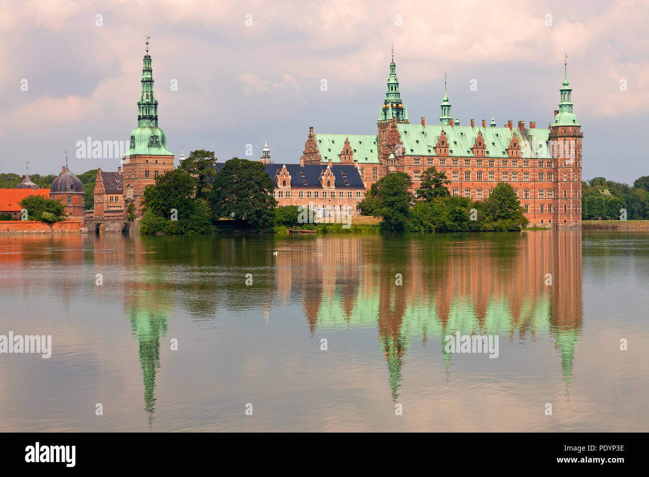 Frederiksborg Castle seen from the opposite bank of the Castle Lake Stock Photo