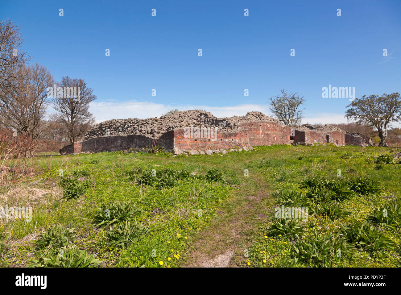 The Gurre Castle Ruin, a Royal castle from the 12th century in North Zealand near Elsinore, Helsingør, in Denmark from the early medieval times.Stock Photo