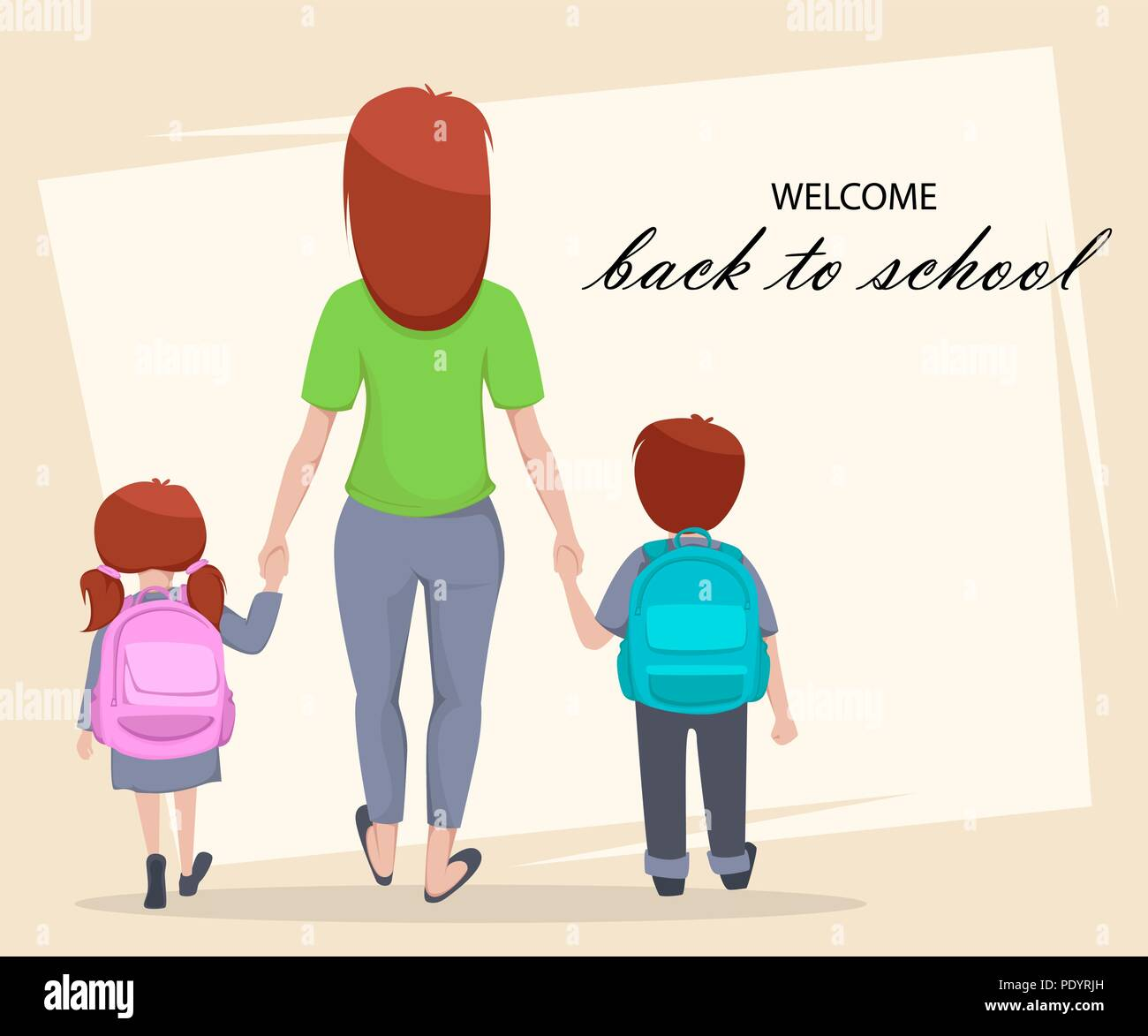 Welcome back to school greeting card poster or flyer cartoon welcome back to school greeting card poster or flyer cartoon characters mother with daughter and son are going to school vector illustration m4hsunfo