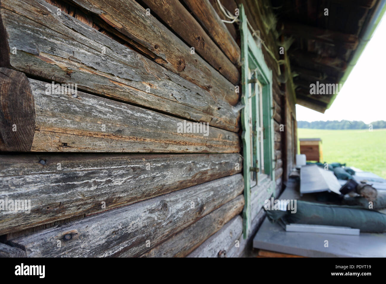old wooden alpine hut - Stock Image