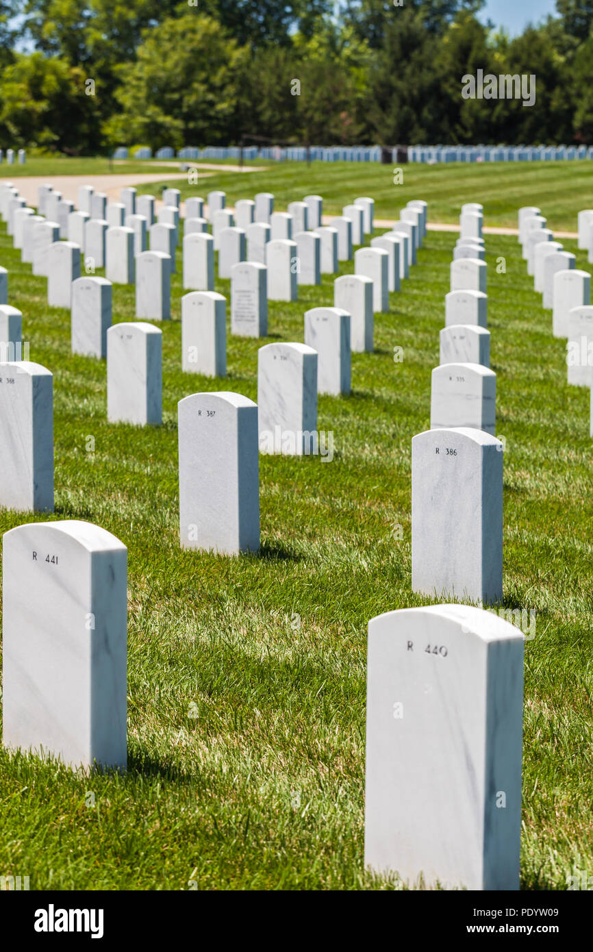View of headstones in Camp Butler National Cemetery, American military burial place Stock Photo