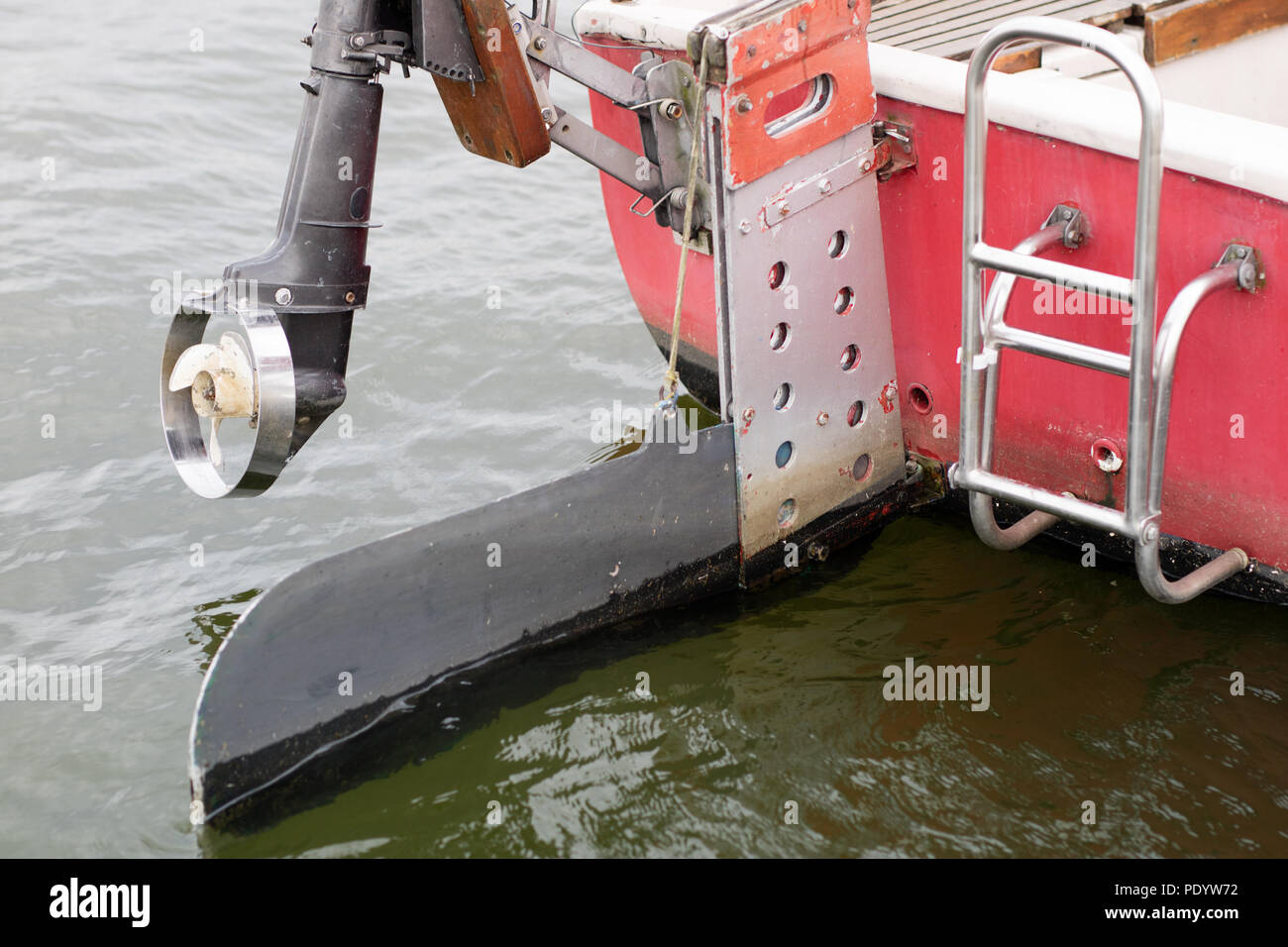 Outboard Engine And Yacht S Rudder Exhaust Propulsion For Inland Water Sailboat Season Of The Summer Stock Photo Alamy