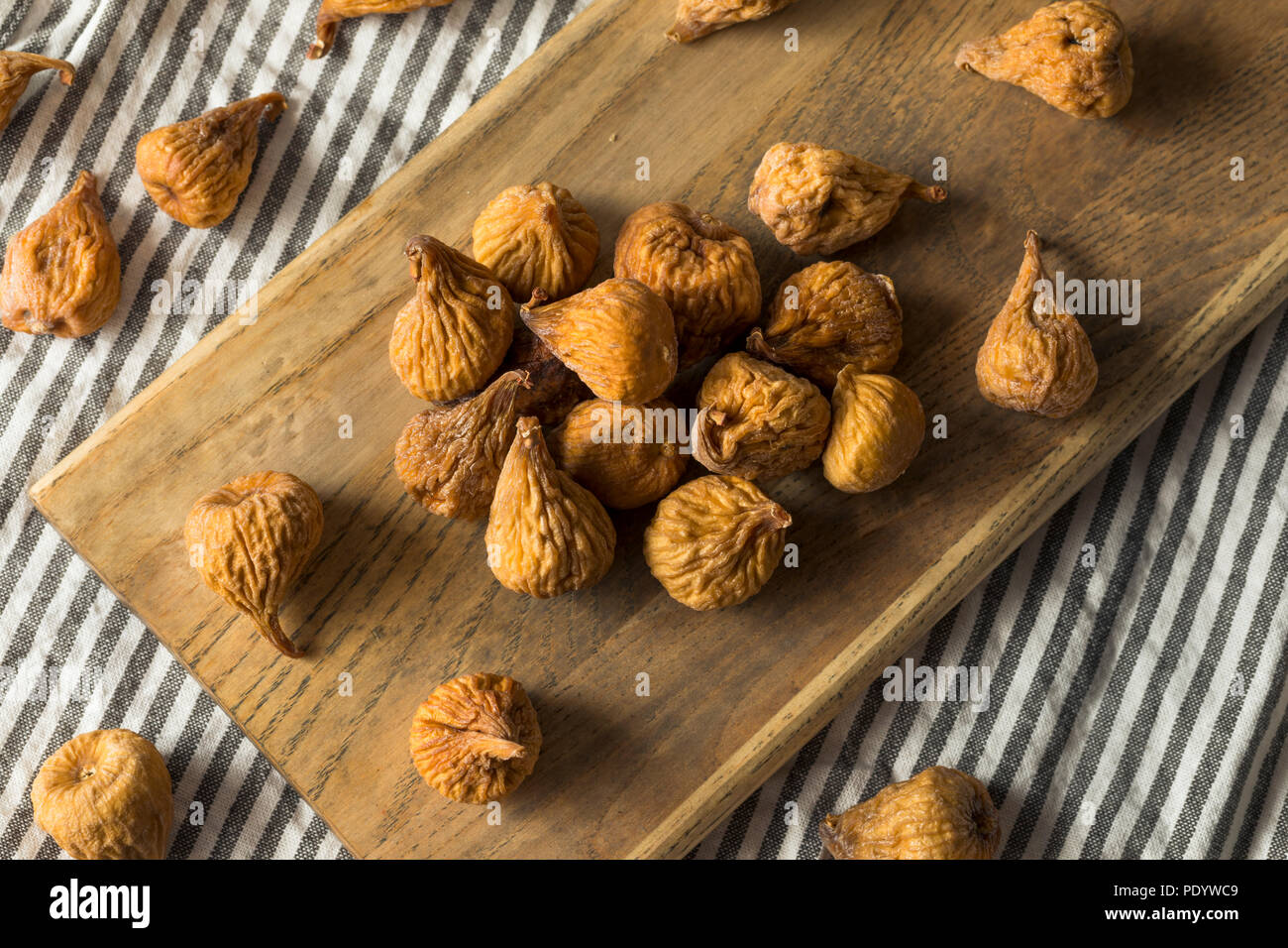 Raw Brown Dried Figs Ready to Eat - Stock Image