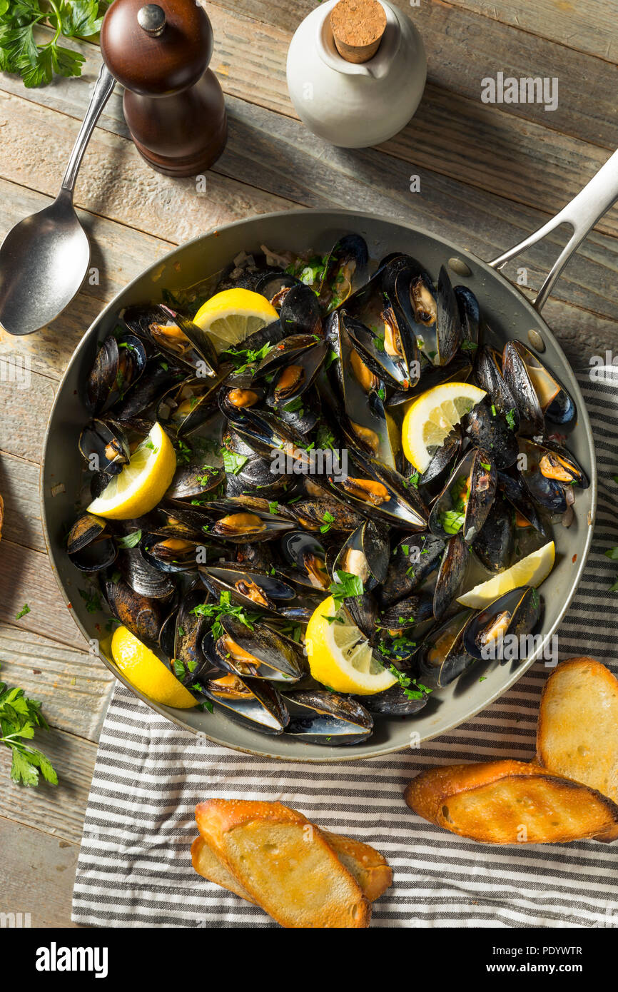 Homemade Steamed Mussels and Broth with Bread - Stock Image