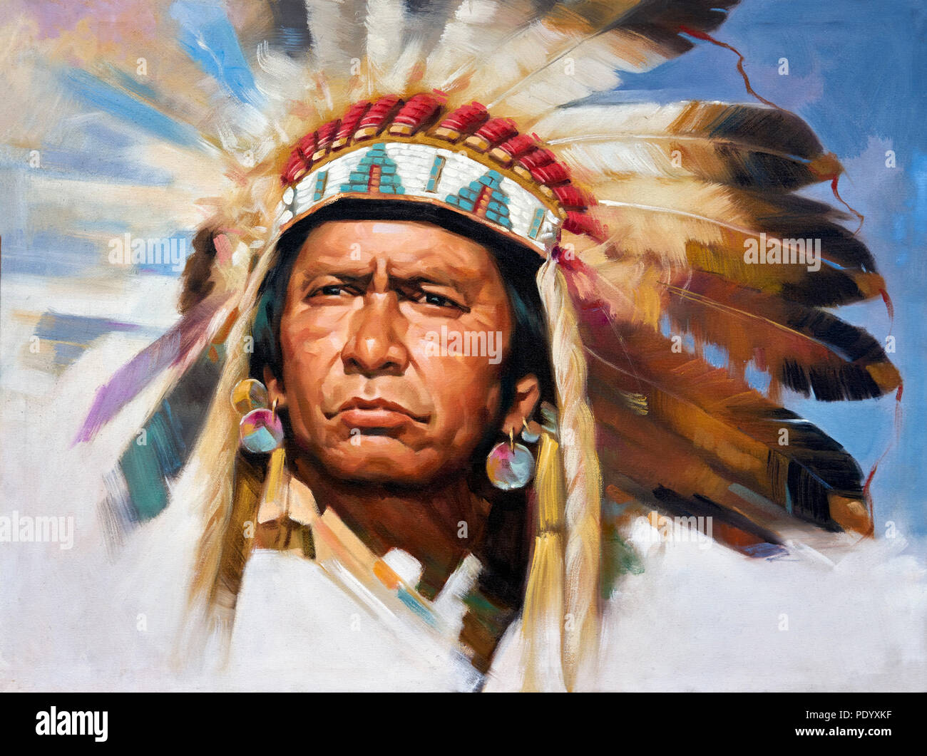 cb1e3efed Painting of a Native American Indian Chief in full headdress - Stock Image
