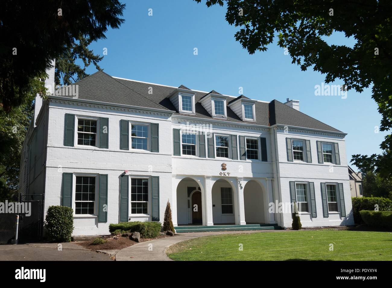 Omega house today, on the 40th anniversary of the release of the movie 'Animal House', in Eugene, Oregon, USA. - Stock Image