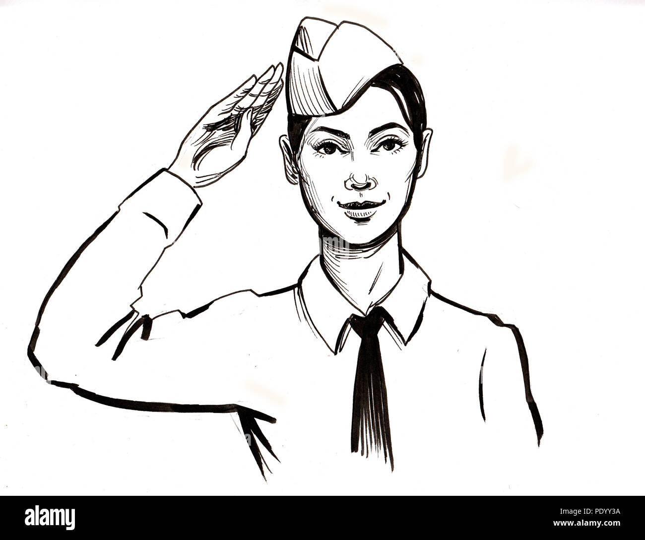 Woman soldier  Ink black and white drawing Stock Photo
