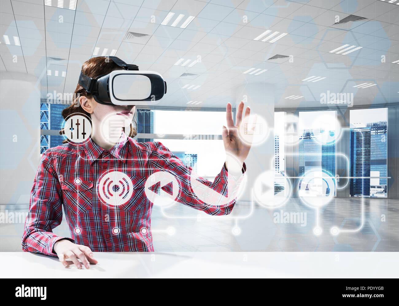 Virtual reality experience - Stock Image