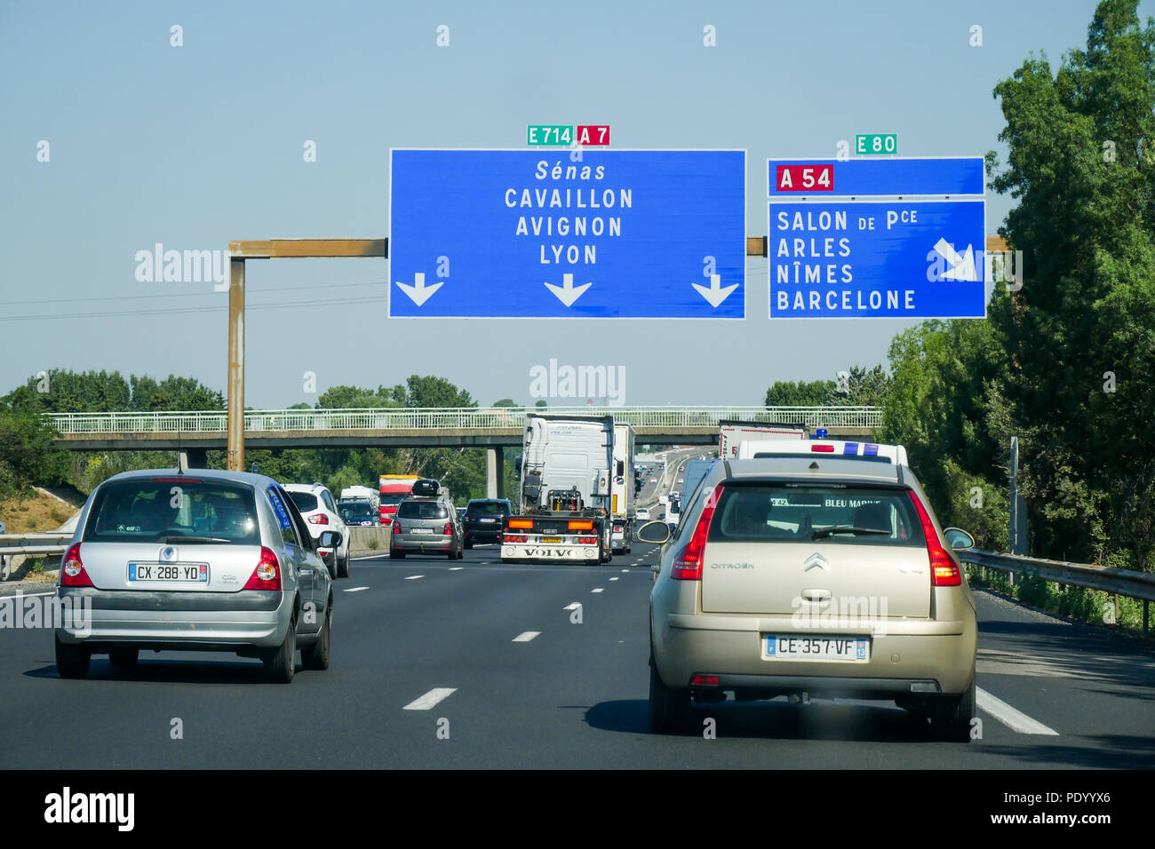 driving on a7 highway autoroute du soleil illustration rhone valley france stock photo. Black Bedroom Furniture Sets. Home Design Ideas