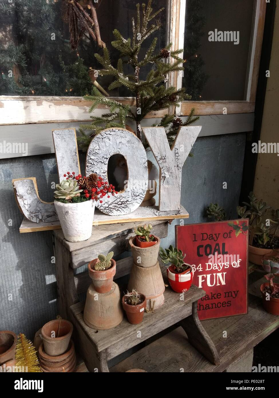 christmas decorations in storejoy spelled in big letters and funny sign