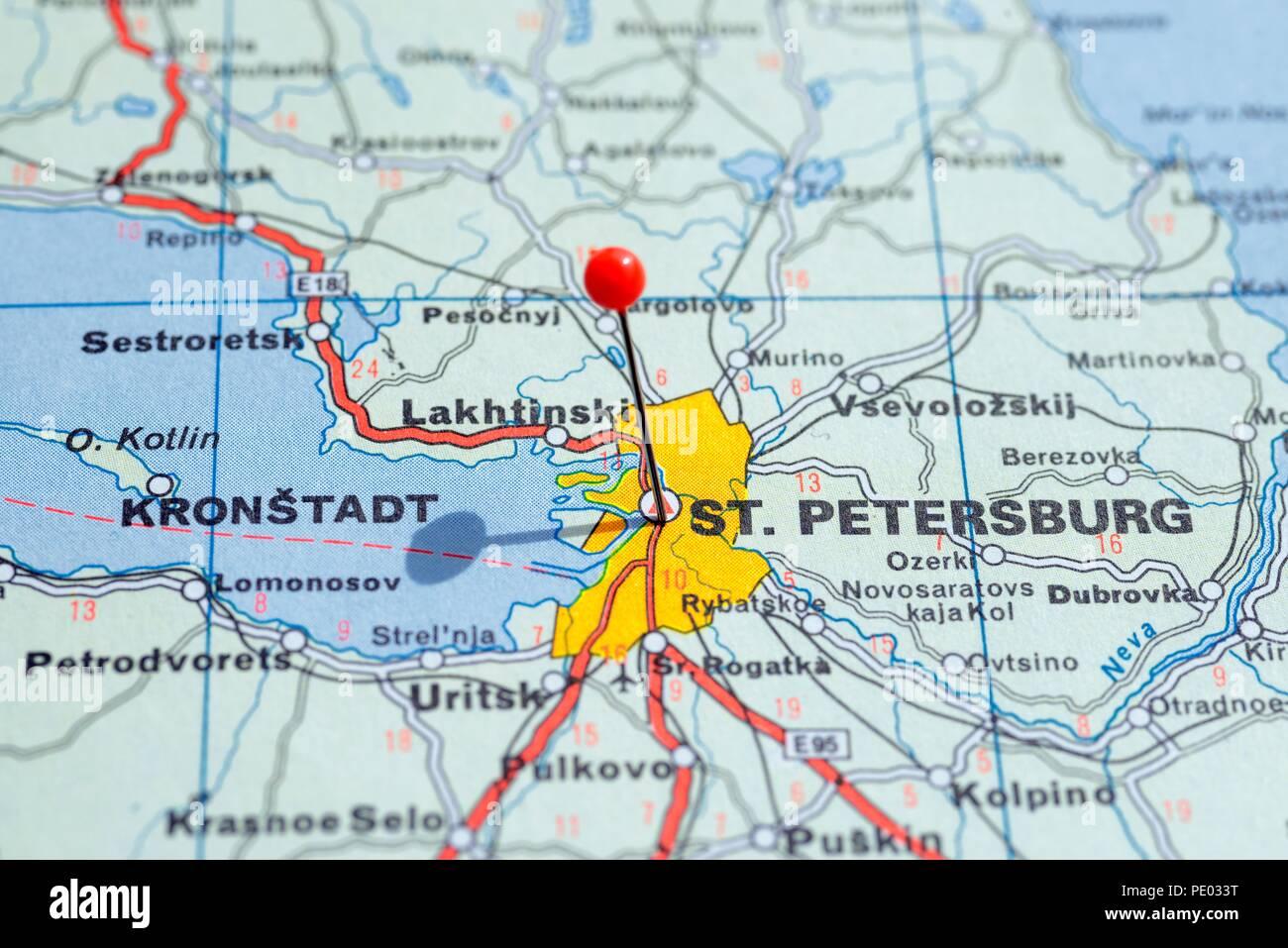 st petersburg map europe Sweden Stockholm, 07 April 2018: European cities on map series