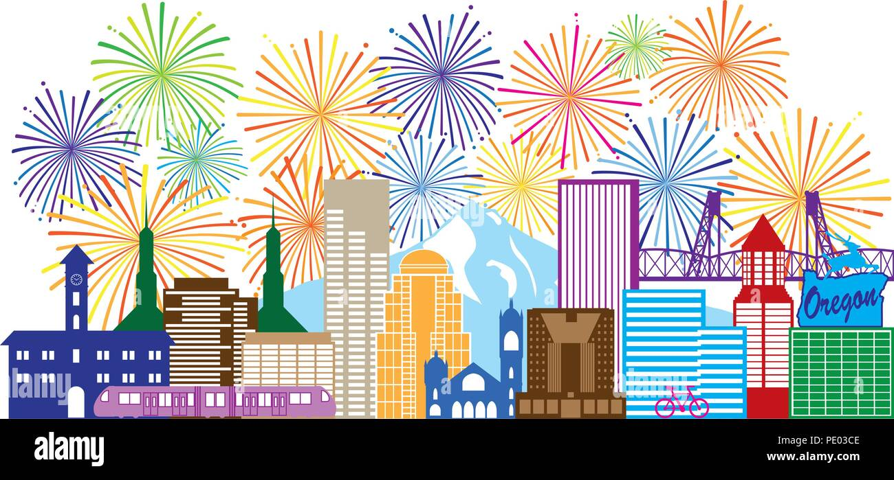 Portland Oregon Outline Silhouette with City Skyline Downtown Panorama and Fireworks Isolated on White Background Illustration Stock Vector