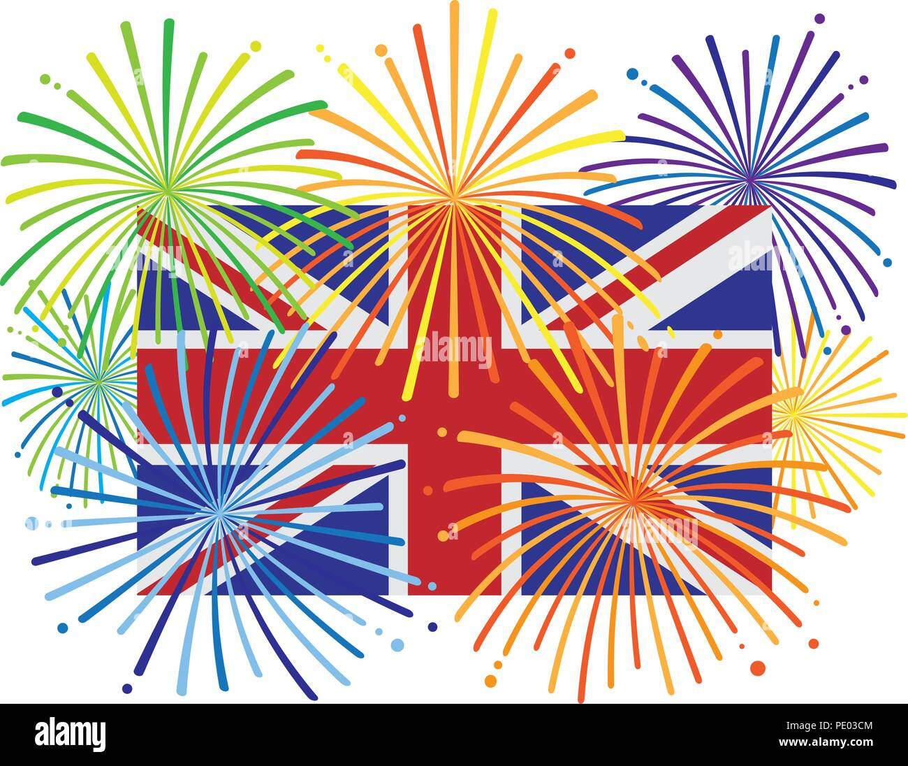 Great Britain England Jack Union Flag with Fireworks Color Illustration Stock Vector