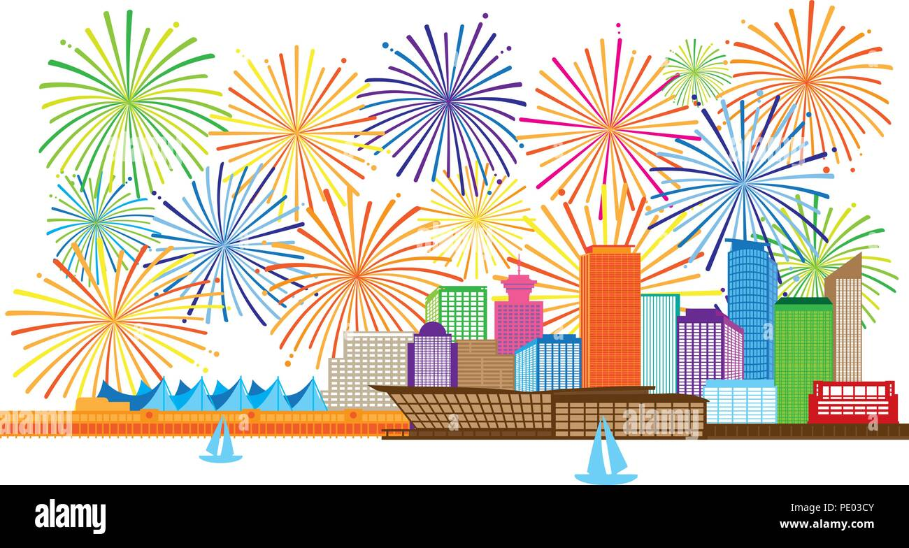 Vancouver British Columbia Canada City Skyline and fireworks display color Illustration Stock Vector