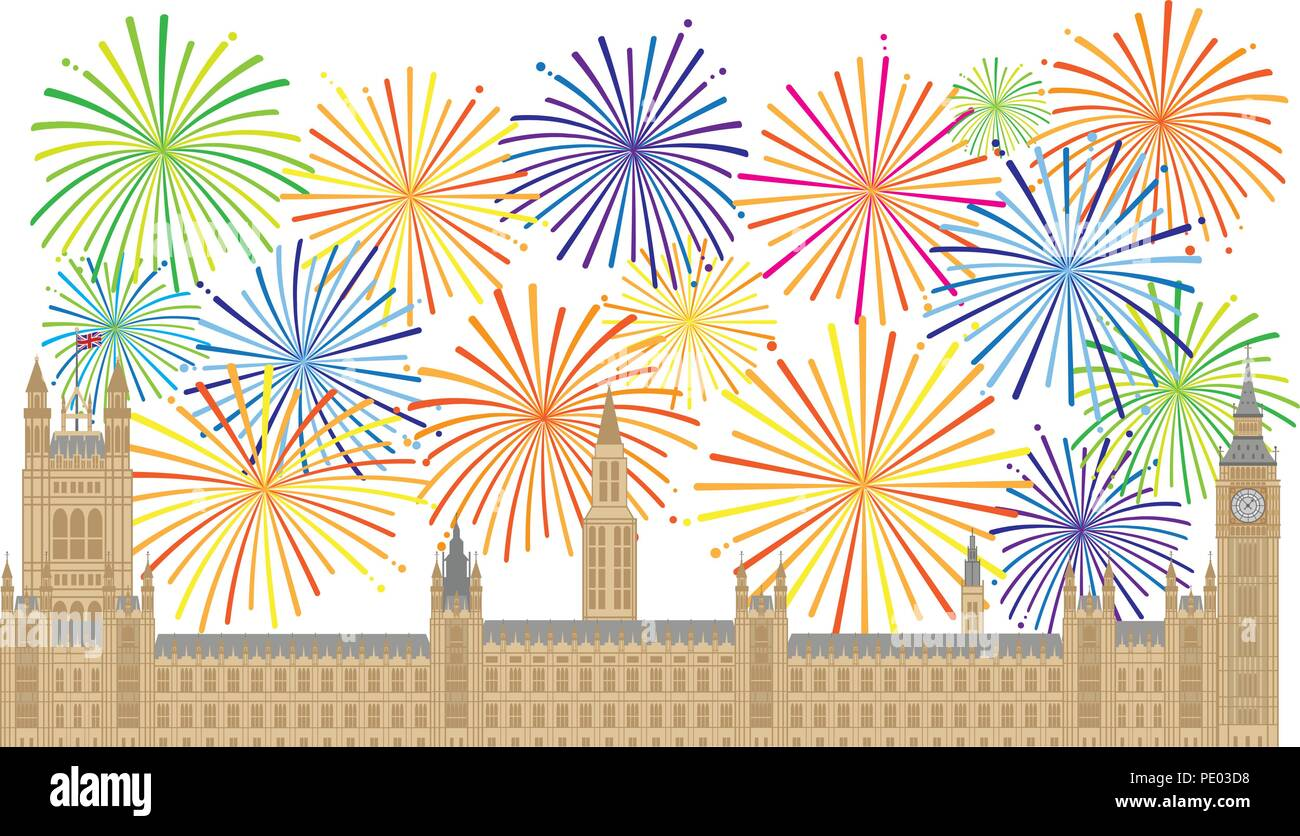 Palace of Westminster Houses of Parliament with Big Ben Clock Tower in London and Fireworks Illustration Stock Vector
