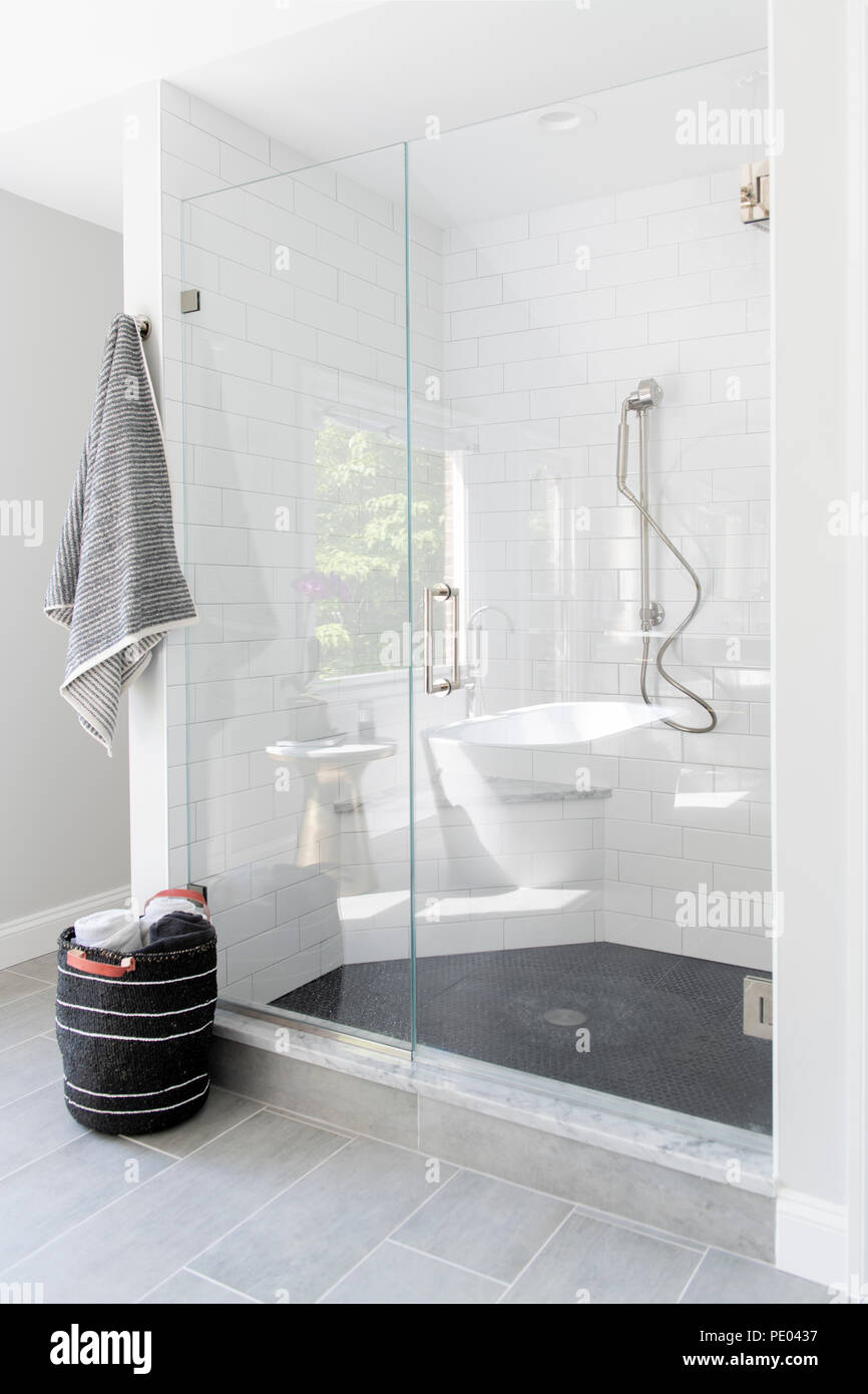 A high end residential bathroom shower stall with white tiles and ...