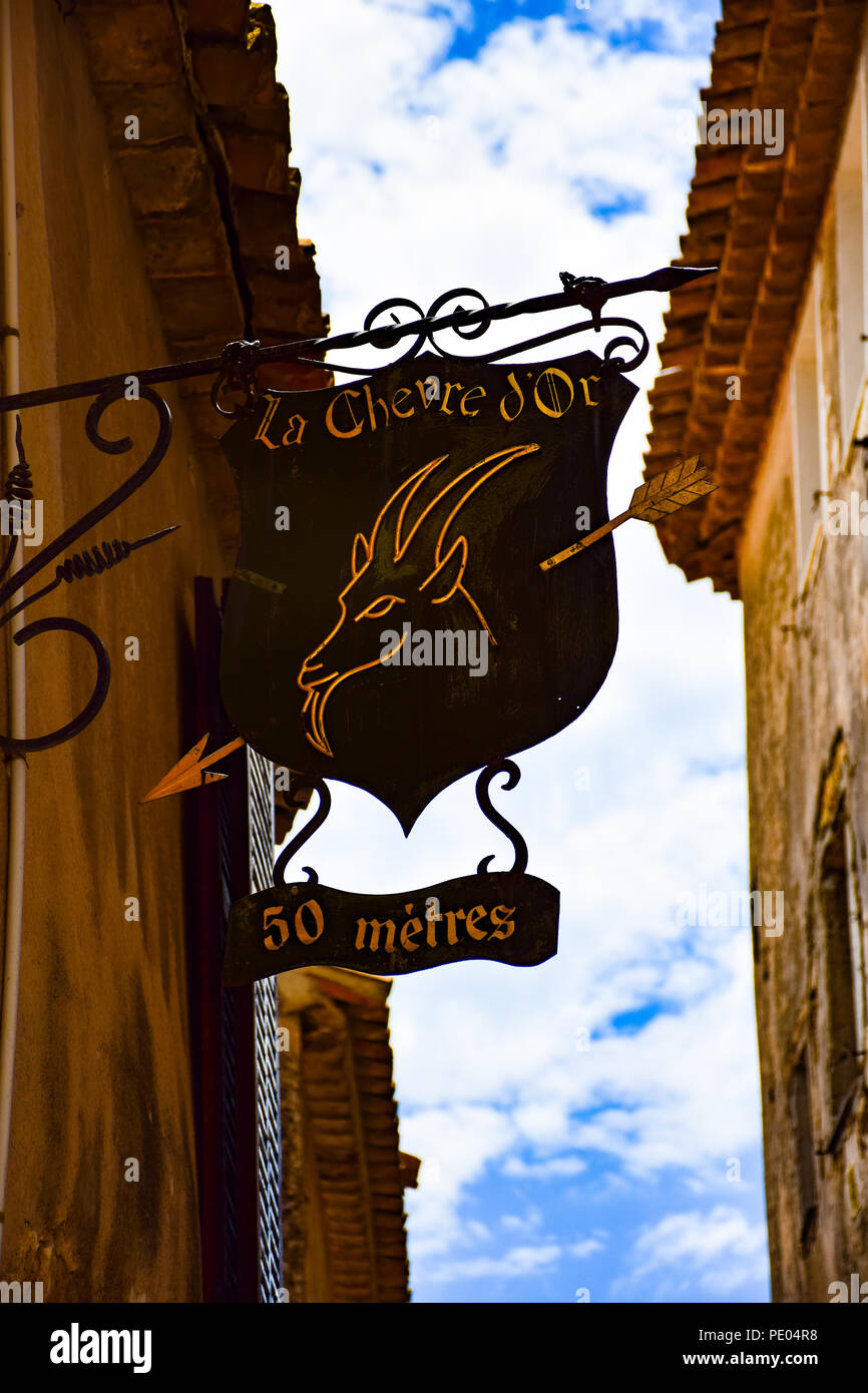SIgn for the e world famous Chevre D'Or Restaurant and hotel in the village of Eze on the French Riviera - Stock Image