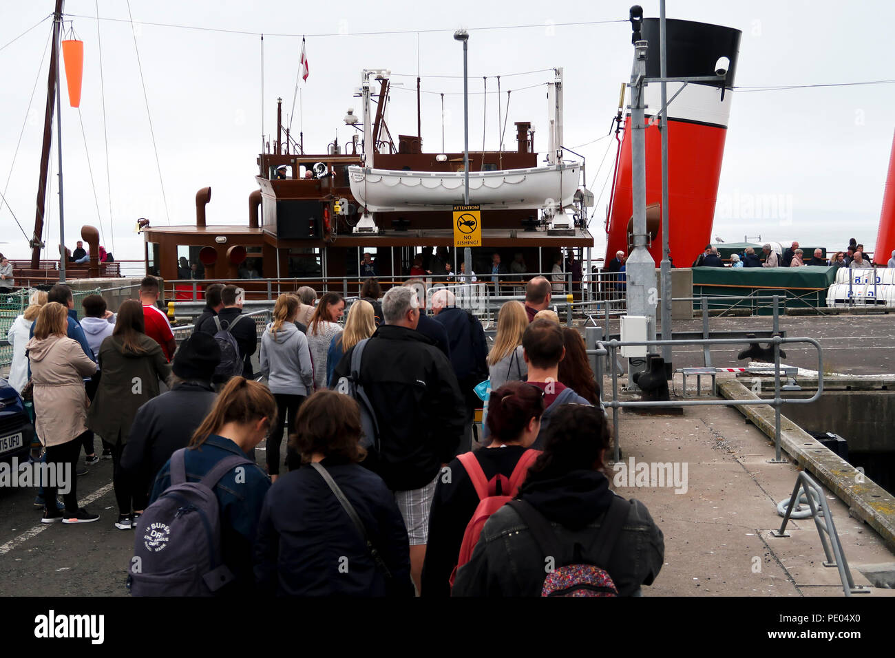 PS Waverley at Largs pier - Stock Image