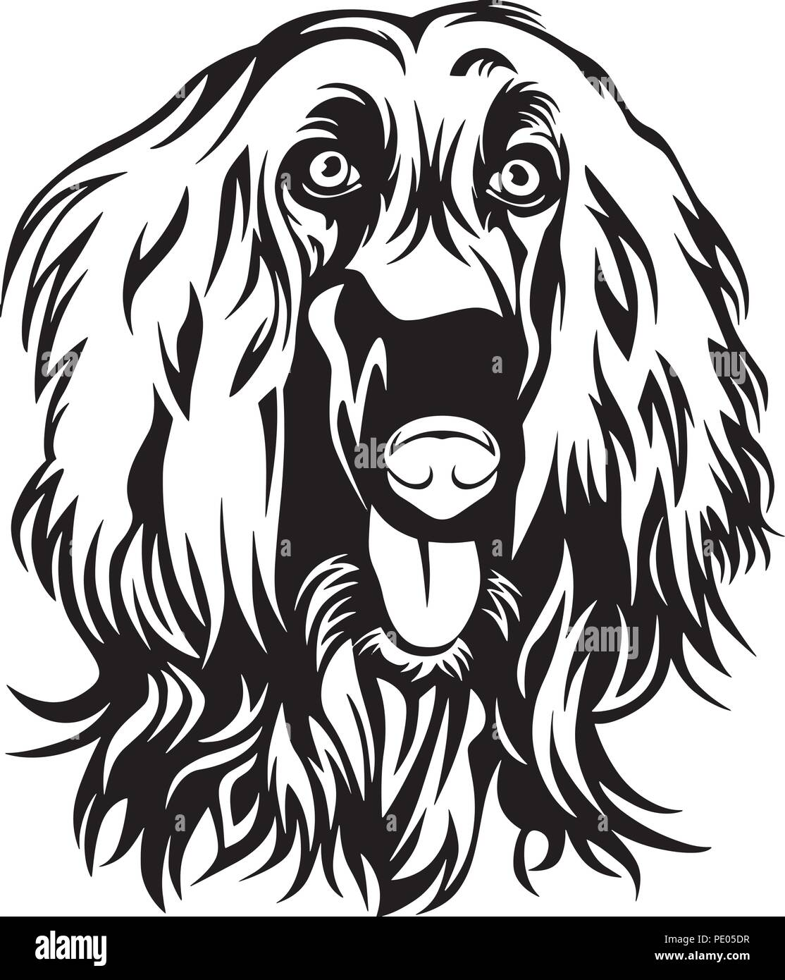 Afghan Hound Dog Breed Pet Puppy Isolated Head Face Stock Vector