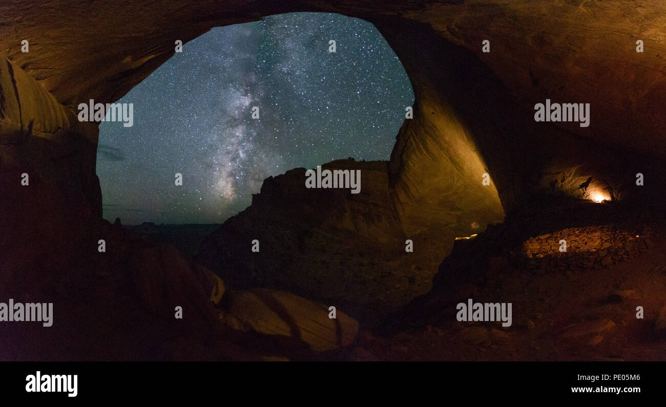 This is the picture of milky way at False Kiva at Canyonland National Park, Utah. - Stock Image